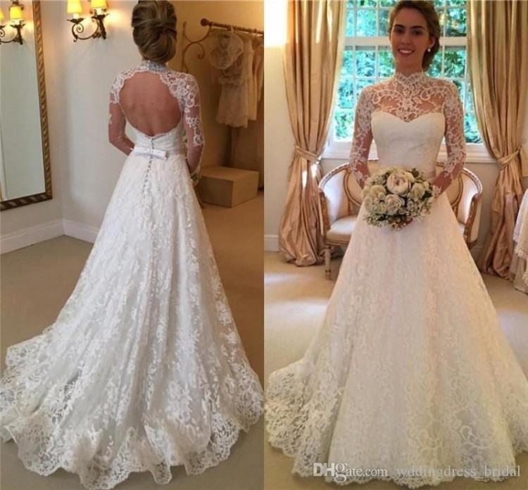Discount 2019 Elegant Lace Wedding Dresses High Neck Long Sleeves Appliques  Illusion Backless Vintage Wedding Gowns Cheap Robe De Mariage Plus Size A  Line
