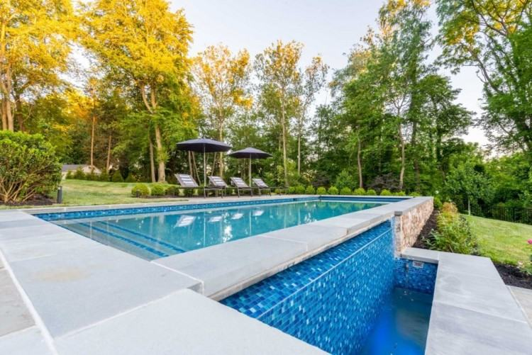 custom swimming pool pergola and garden wall design ideas franklin  lakes nj