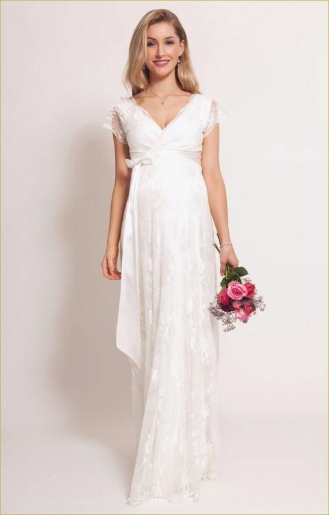 Hot Selling New Maternity Beach Wedding Dresses Summer Style Simple Short  Sleeve Floor Length Ruffles Pregnancy Chiffon Bridal Gowns W801 Silk Wedding