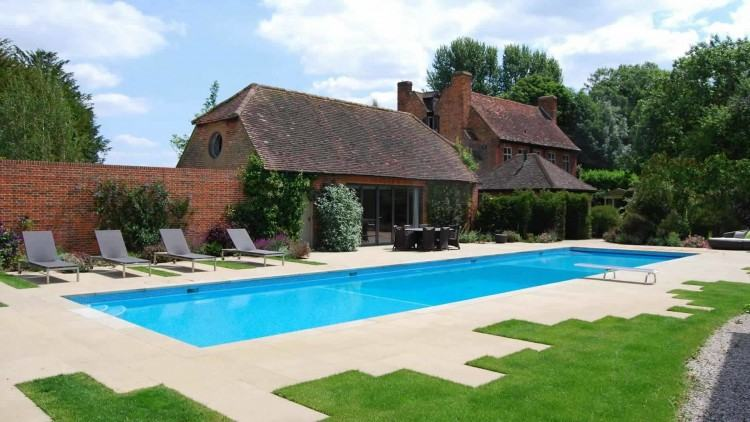 This is the large rear garden to a substantial, detached property set back  from a fairly busy road in a Otford, a picturesque Village in West Kent  located