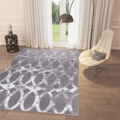 Renzo Collection Easy Clean Stain and Fade Resistant Luxury Brown Area  Runner Rug for Living Room Bedroom Kitchen, Modern Geometric Space Design  with Jute