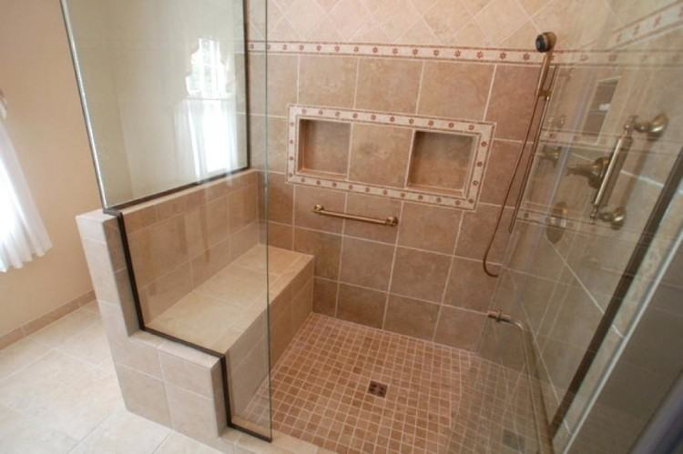 Archaic Design Ideas using Cream Tile Backsplash and Rectangular White  Bathtubs also with Triangle Cream Bench