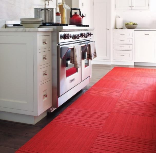 A sisal rug may be used in the kitchen because it wipes clean easily