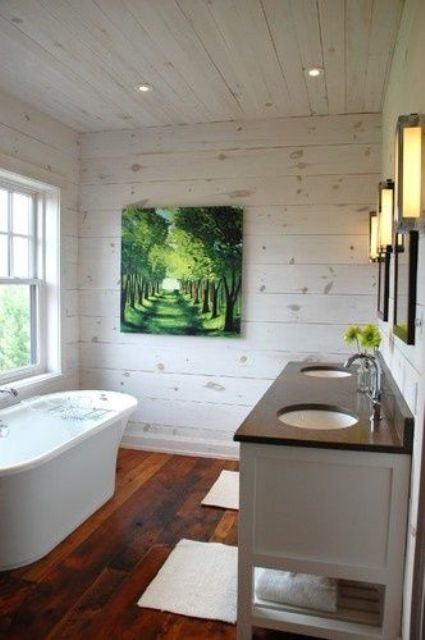 bathroom wood ceiling ideas