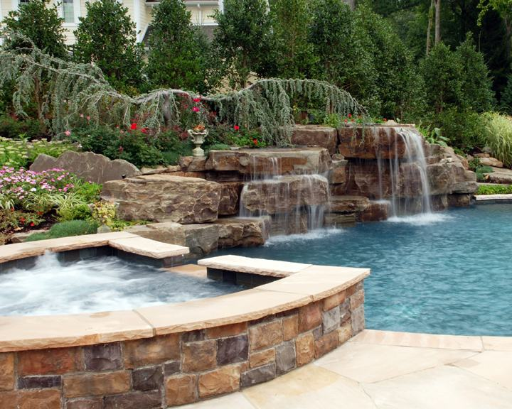 spa design ideas paramus new jersey custom formal swimming pool  installation with deck jets and pergola franklin lakes nj