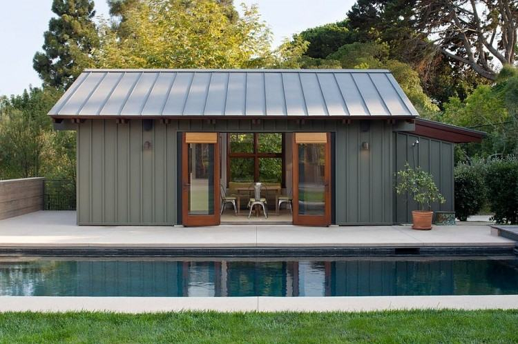 Even the smallest gardens can contain a pool and a pool house [Design:  Studio