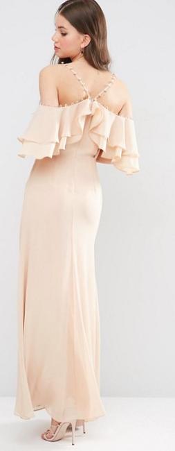 Wedding Guest Dresses, Champagne, Gina Off Shoulder Maxi Dress,