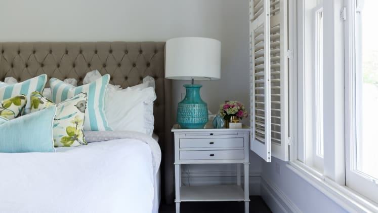 The Best Paint Colors from Sherwin Williams: A little bit of lavender in  your blue makes for a subtly feminine look, like in this crisp yet soft  bedroom