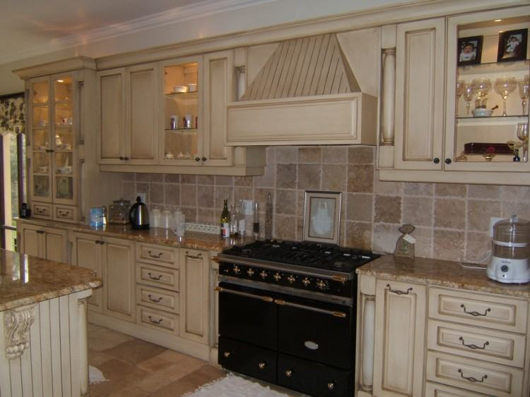 Ivory Cabinets Wood Flooring Giallo Ornamental Granite Countertops Add  Elegance In The Kitchen White Kitchen Design Giallo