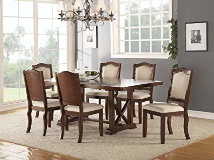 Dining Room Table Set Dark Cherry Solid Wood Furniture 7 Piece 1 Table  6 Chairs