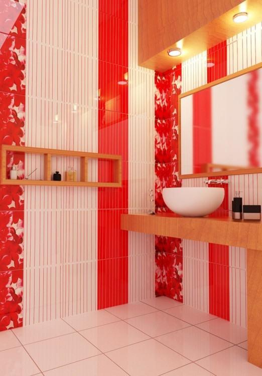 Black Tile  Bathroom Brown Wall