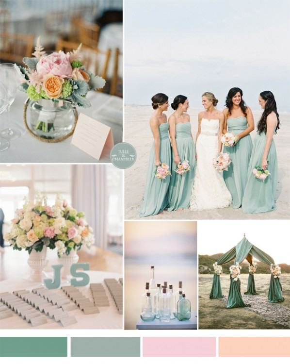 blue and green bridesmaid dress
