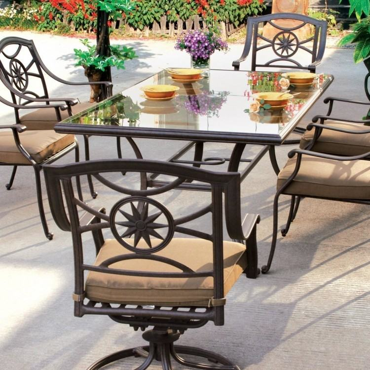 Round Outdoor Dining Table& 2 Swivel Rocking Chairs, 2  Chair Chairs, with Umbrella & Base by Home Styles (South Beach 7pc Outdoor  Dining