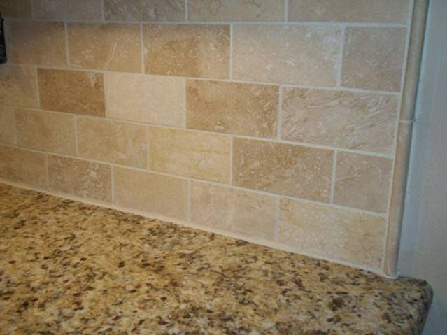 Simple Traditional Kitchen Design with Laminate Butcher Block Countertops,  Beige Travertine Tile Backsplash