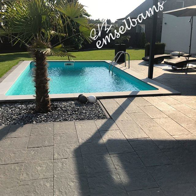 Terrace by the pool with sun loungers near the modern house