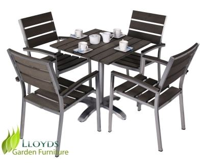 BuyLG Outdoor Devon 4 Seater Garden Dining Table and Chairs Set with  Parasol, Bronze Online