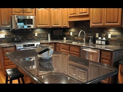 Astounding Design Ideas using Black Granite Countertops and U Shaped  Brown Wooden Cabinets also with Brown