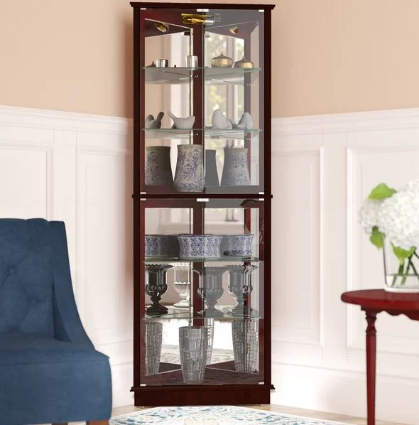 Jenlea Lighted Standing Corner Curio Cabinet and Trophy Display Case