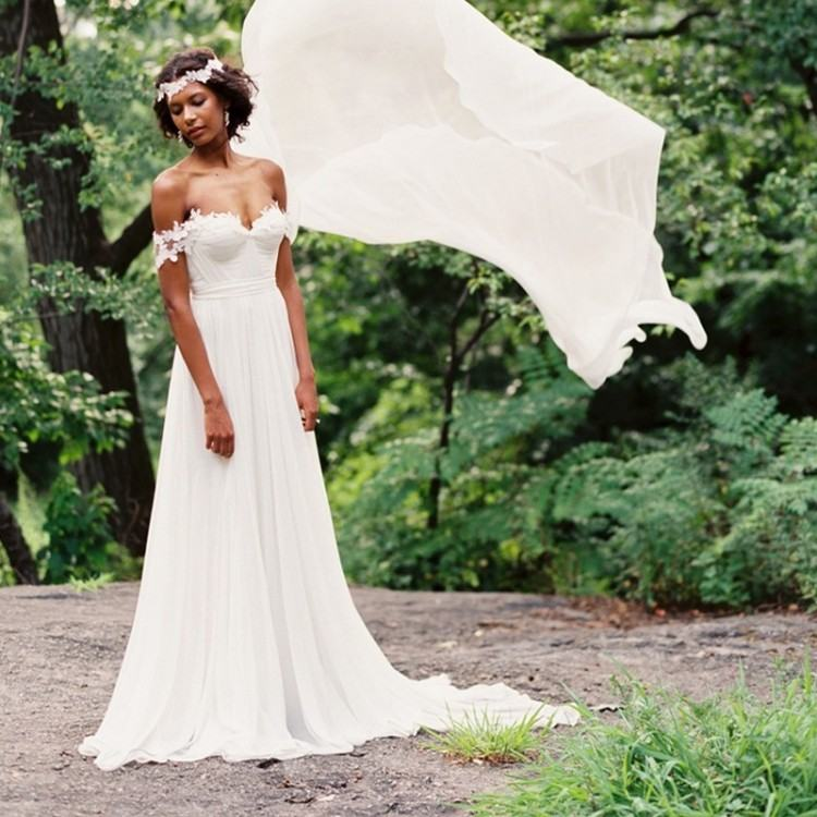 Discount Elegant A Line Champagne Tulle Beach Wedding Dresses 2018 Off  Shoulders Lace Appliques Corset Back Country Bridal Gowns Custom Made Lso  One