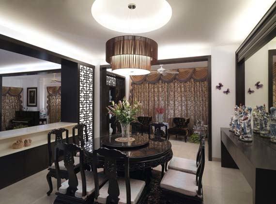 Moooi random lights for the Asian dining room [Design: OM Home]