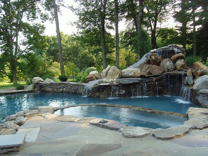 Great pool design built on a slope