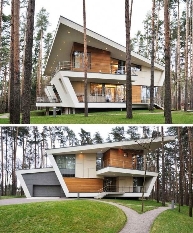 16 Examples Of Modern Houses With A Sloped Roof | Sloped roofs on this modern  house match the rest of the lines used on the exterior to create a  futuristic