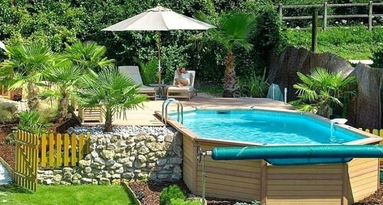 backyard above ground pool ideas on a budget combined with illuminated  landscaping id
