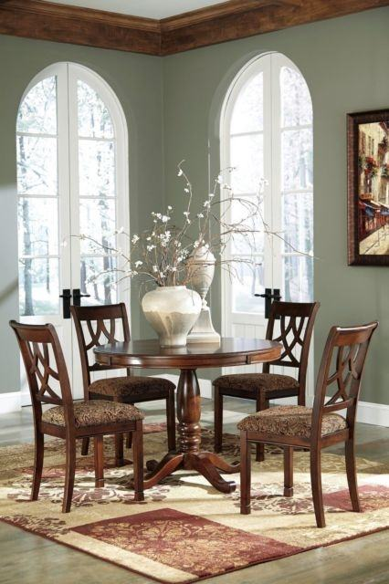 Abbott Place 5 Piece Round Dining/Counter Height Table Set in Rich, Warm  Cherry Larger Photo