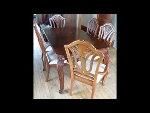 com: Dining Table Set for 6 Cherry Oak Dining Room Furniture Table  Chairs Wood Living Room Set of Seven & Ebook By Easy2Find: Kitchen & Dining