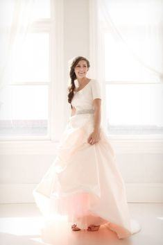 Long sleeve modest bridal gown, style Naomi, is part of the Wedding  Collection of