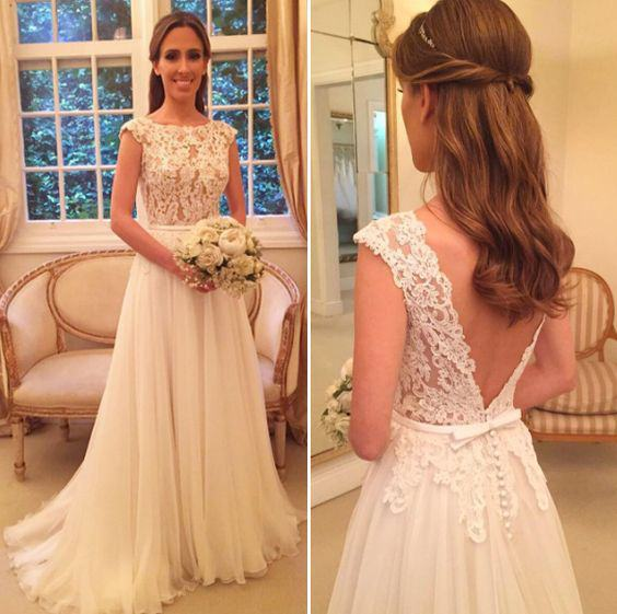 H1376  Simple Chiffon Boho Open Back Lace Wedding Dress