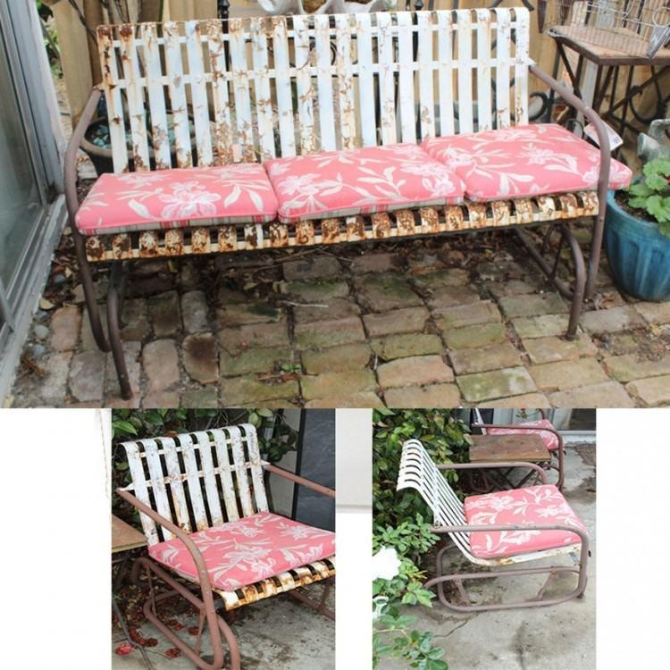 vintage metal glider patio furniture garden 2 person outdoor porch bench  rocking chair yard deck