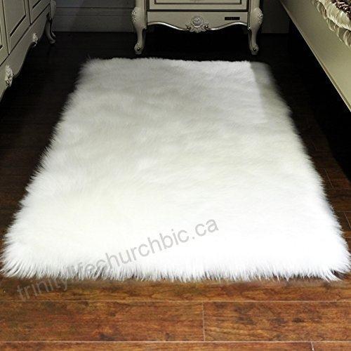Furry Fluffy Fuzzy Soft Solid Faux Fur Sheepskin Lambskin Sheep Hide Animal  Skin Living Room Bedroom Nursery Room Floor Rug Carpet