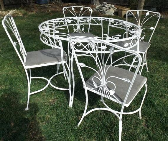 Rod Iron Patio Furniture Vintage Wrought Couch Chair Rocker W Cushions: