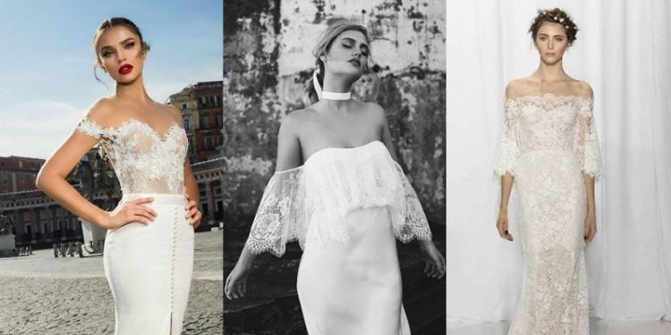 Discount Lace Off Shoulder Beach Wedding Dresses 2018 Modest Simple Flowy  Chiffon Skirt Full Length Summer Holiday Boho Beach Country Bridal Dress  Bridal