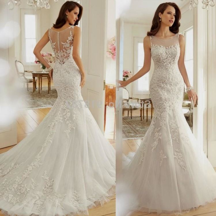 Discount 2015 White Elegant A Line Lace Wedding Dresses Naviblue Scoop Long Sleeve  Lace Up Applique Ribbon Long Sweep Train Bridal Gowns For Women All