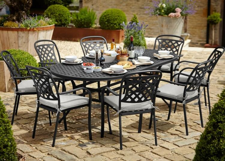 6 Seater Wooden Garden Furniture Table With Chairs And Parasol in 6  seater garden furniture for