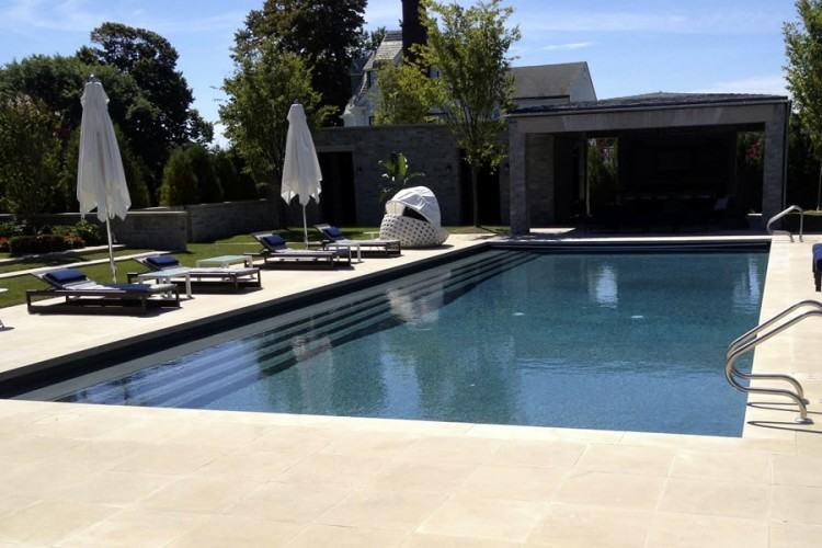 inground pool with raised hot tub tile ideas |
