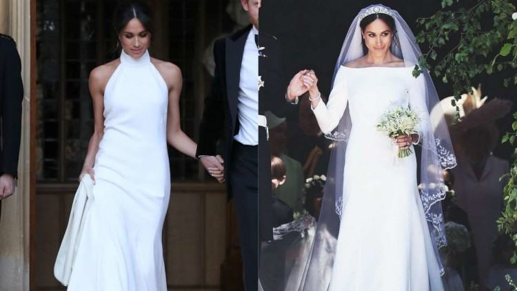 Before the world even had a chance to recover from the gorgeousness of Meghan  Markle 's first elegant wedding dress, the new Duchess of Sussex stunned in  a