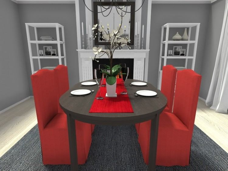 Modern French style: Red dining room table meets 1860s Paris   by  SarahKaron
