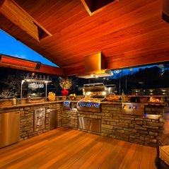 Outdoor Fire Place on Covered Deck