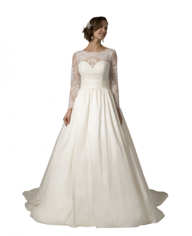 Modest wedding dress, style Kenwood, is part of the Wedding Collection  of LatterDayBride,