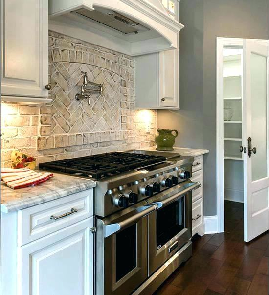 Gas Range Hood Bowl Atainless Counetrtop Modern False Red Brick Backsplash  Kitchen Design With Lighting Under White Cabinet With Oven Blender Laminate