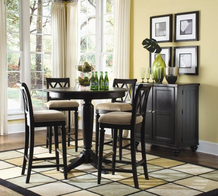 Full Size of Black Bar Height Dining Table Set With Leaf Bench Kitchen  Amusing Pub Se