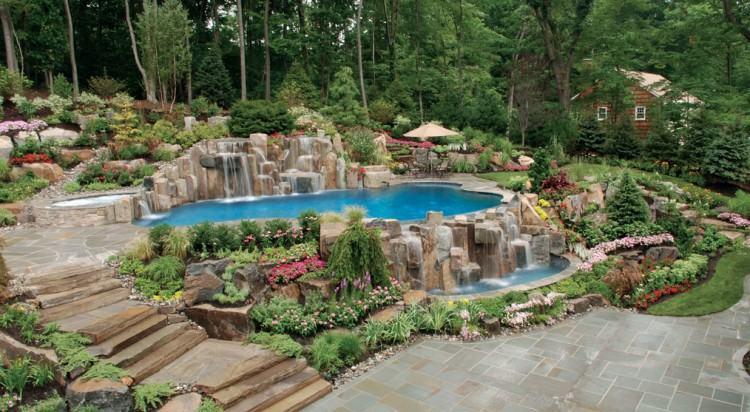 Infinity edge swimming pool unique waterfall