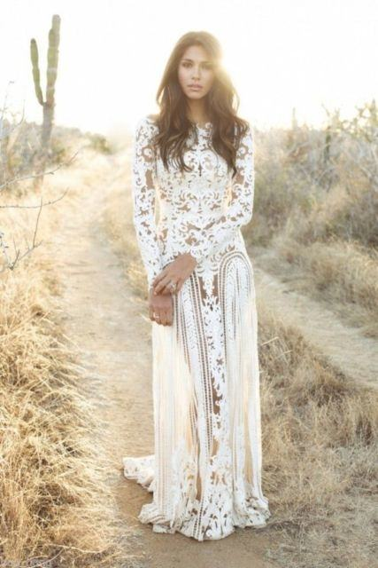 Modest Long Sleeves White Long Wedding Gown