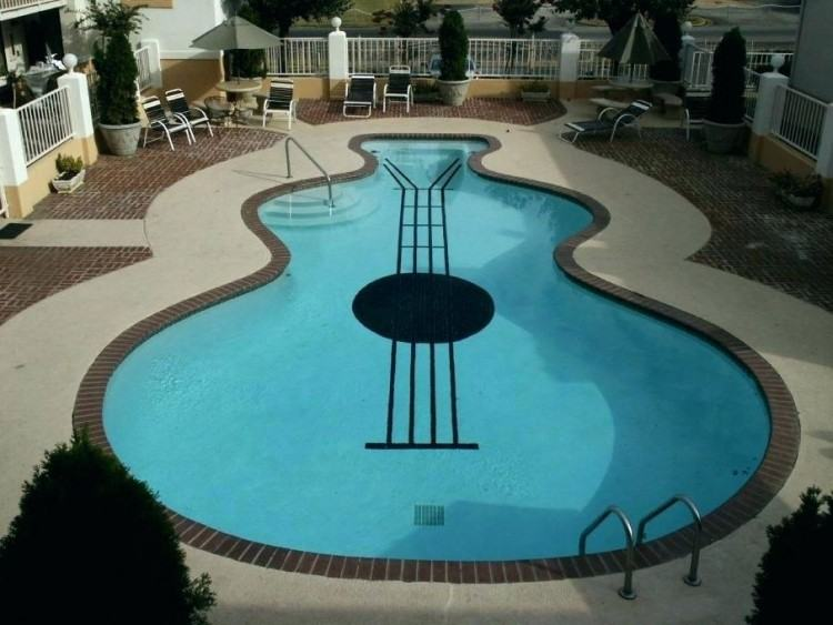 Large size of Contemporary unusual swimming pool brown concrete swimming  pool floor stainless steel pool ladded