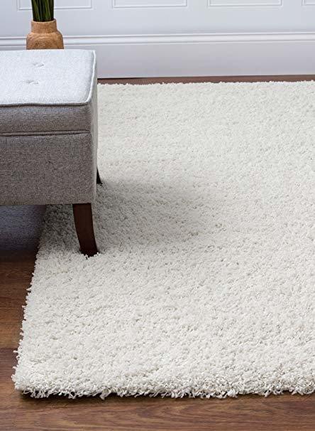 plush nursery rug white