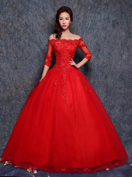 Red Wedding Dress Lace