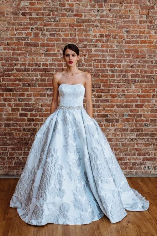 Beautiful blue floral Ramona Keveza wedding dress: